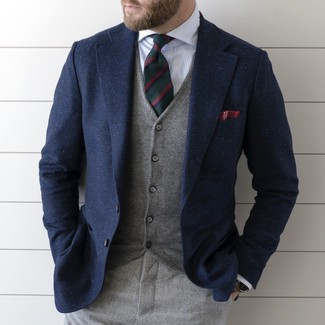 How to wear: navy wool blazer, grey waistcoat, white vertical striped dress shirt, grey wool dress pants