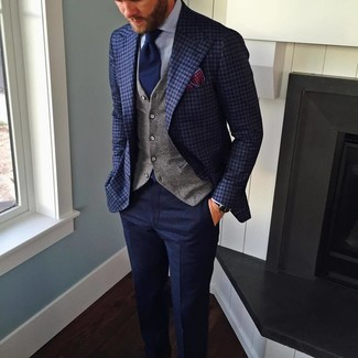 How to wear: navy check blazer, grey waistcoat, light blue dress shirt, navy wool dress pants