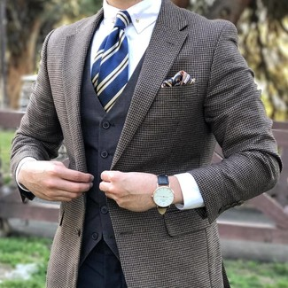 How to wear: brown check blazer, charcoal waistcoat, white dress shirt, charcoal dress pants