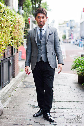 How to wear: grey blazer, grey waistcoat, white dress shirt, black dress pants