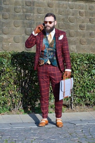 How to wear: red plaid blazer, teal print waistcoat, white dress shirt, red plaid dress pants