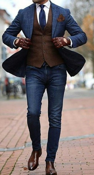 How to wear: navy check blazer, dark brown wool waistcoat, white dress shirt, navy skinny jeans
