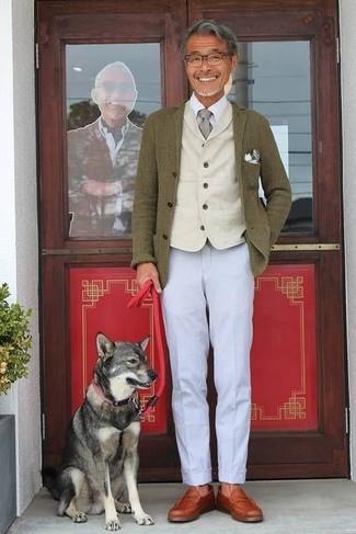 How to wear: olive wool blazer, beige wool waistcoat, white dress shirt, grey chinos