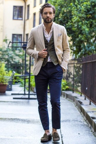 A beige blazer looks especially elegant when paired with AG Adriano Goldschmied men's The Slim Khaki In Military Navy Apparel. And it's a wonder what a pair of olive suede tassel loafers can do for the look. There's no better way to spice up a gloomy fall day than a kick-ass look like this one. (Ok, maybe there are a couple.)