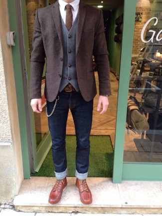 How to wear: dark brown wool blazer, grey wool waistcoat, white dress shirt, navy skinny jeans