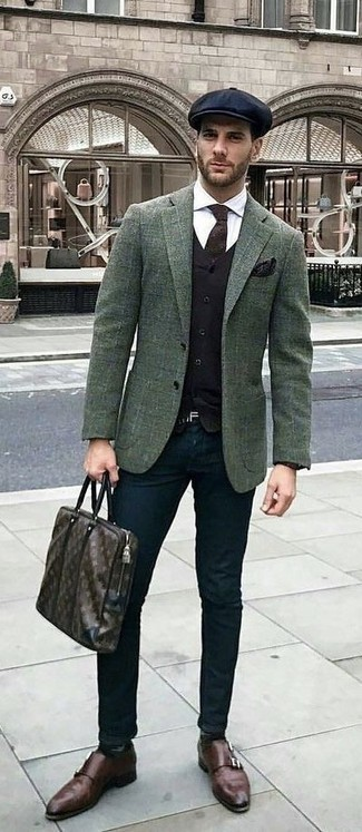 How to wear: dark green check wool blazer, black waistcoat, white dress shirt, black chinos