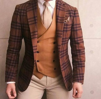 How to wear: brown plaid wool blazer, tobacco waistcoat, white dress shirt, beige chinos
