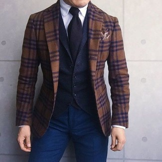 How to wear: brown plaid wool blazer, black wool waistcoat, white dress shirt, navy chinos