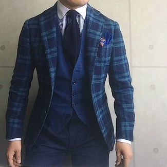 How to wear: teal plaid wool blazer, navy denim waistcoat, white and navy vertical striped dress shirt, black chinos