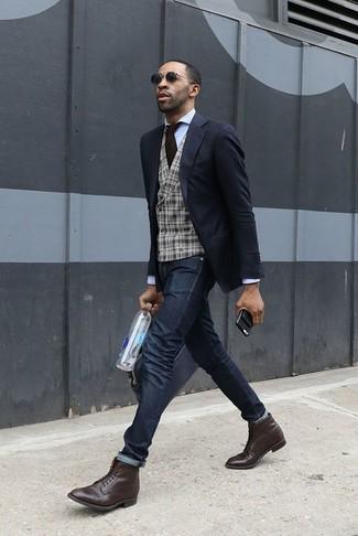 How to wear: black blazer, grey plaid wool waistcoat, white dress shirt, black skinny jeans