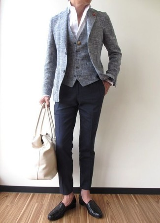 How to wear: grey blazer, grey waistcoat, white dress shirt, navy dress pants