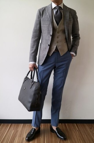 How to wear: grey plaid blazer, tan waistcoat, white vertical striped dress shirt, navy dress pants