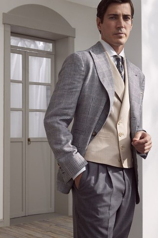How to wear: grey plaid blazer, beige waistcoat, white dress shirt, grey dress pants