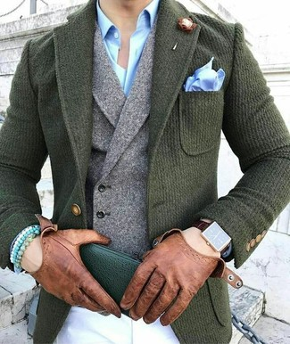 How to wear: dark green wool blazer, grey wool waistcoat, light blue dress shirt, white chinos