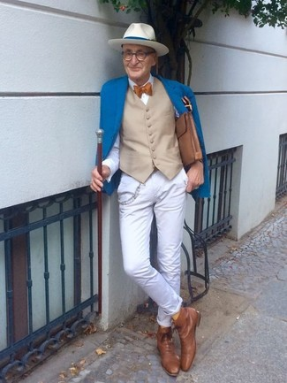 How to wear: blue blazer, beige waistcoat, white dress shirt, white chinos