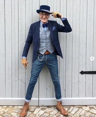 How to wear: navy blazer, grey check waistcoat, light blue dress shirt, blue skinny jeans