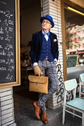 How to wear: navy velvet blazer, blue waistcoat, white dress shirt, grey plaid wool dress pants