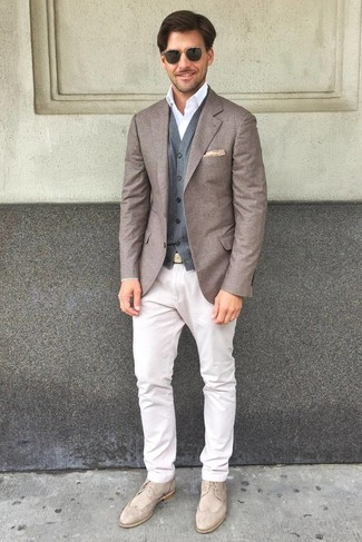 How to wear: brown wool blazer, grey wool waistcoat, white dress shirt, white chinos