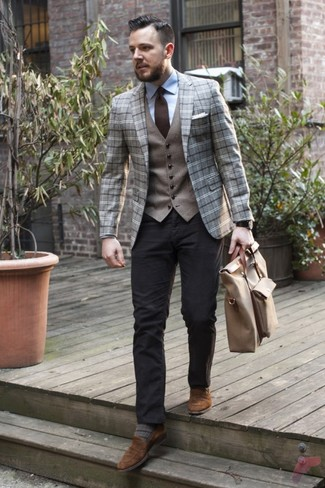 How to wear: grey plaid wool blazer, grey wool waistcoat, light blue dress shirt, black chinos