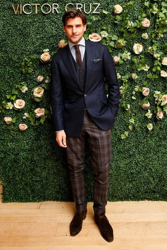 How to wear: navy blazer, black waistcoat, grey dress shirt, dark brown plaid wool dress pants