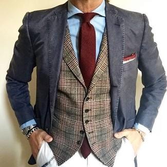 How to wear: charcoal cotton blazer, olive plaid wool waistcoat, light blue dress shirt, white chinos