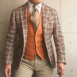 How to Wear a Beige Tie For Men: Consider teaming an orange plaid wool blazer with a beige tie for a really stylish ensemble.