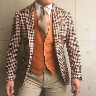 How to wear: orange plaid wool blazer, orange wool waistcoat, white dress shirt, beige dress pants
