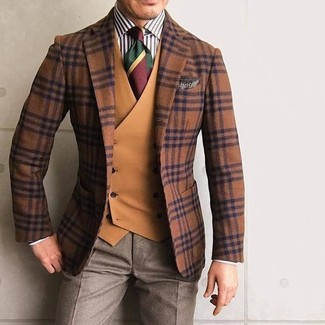 How to wear: tobacco plaid wool blazer, tobacco waistcoat, white and black vertical striped dress shirt, brown dress pants