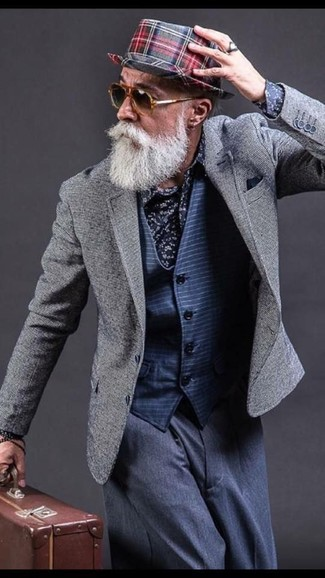 How to wear: grey blazer, navy horizontal striped waistcoat, navy floral dress shirt, navy dress pants