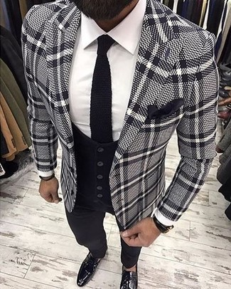 How to wear: grey plaid blazer, black waistcoat, white dress shirt, black dress pants