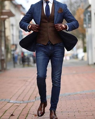 How to wear: navy check blazer, dark brown waistcoat, white dress shirt, navy skinny jeans