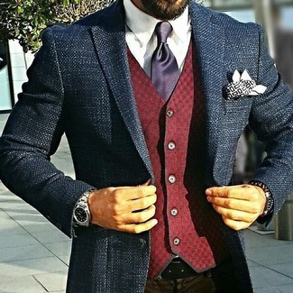 How to wear: navy tweed blazer, burgundy check wool waistcoat, white dress shirt, dark brown dress pants