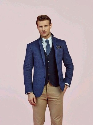 How to wear: blue wool blazer, navy wool waistcoat, white dress shirt, khaki chinos