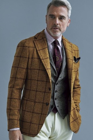 How to wear: brown check wool blazer, grey wool waistcoat, white and red vertical striped dress shirt, beige corduroy jeans
