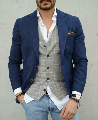 How to wear: navy blazer, grey check waistcoat, white dress shirt, light blue skinny jeans