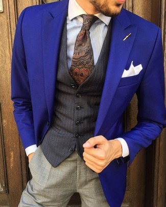 How to wear: violet blazer, black vertical striped waistcoat, light blue vertical striped dress shirt, grey dress pants