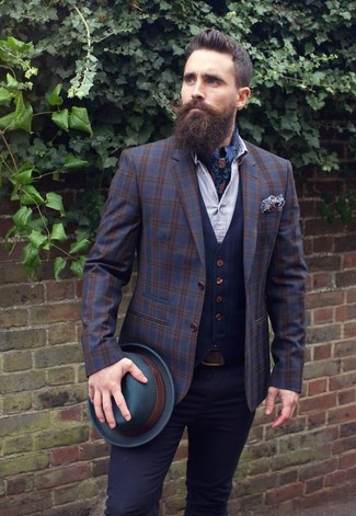 How to wear: navy plaid wool blazer, navy waistcoat, white dress shirt, black chinos