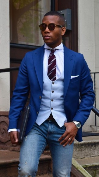How to wear: blue blazer, light blue waistcoat, white dress shirt, blue ripped skinny jeans