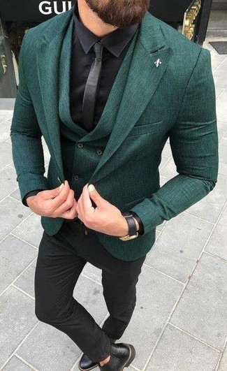 How to wear: dark green blazer, dark green waistcoat, black silk dress shirt, black dress pants