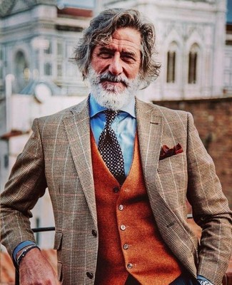 How to wear: brown check blazer, orange wool waistcoat, light blue dress shirt, black and white polka dot tie