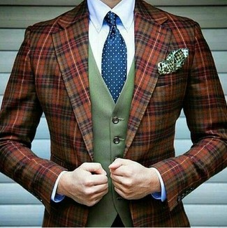 How to wear: tobacco plaid wool blazer, olive wool waistcoat, white dress shirt, blue polka dot tie