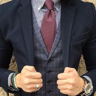 How to wear: black blazer, navy plaid waistcoat, white and navy gingham dress shirt, burgundy print tie