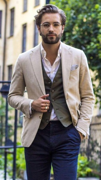 How to wear: beige blazer, charcoal waistcoat, light violet dress shirt, navy chinos