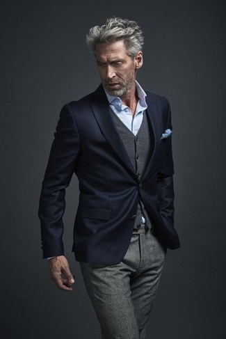 How to wear: navy blazer, grey wool waistcoat, light blue dress shirt, grey wool dress pants