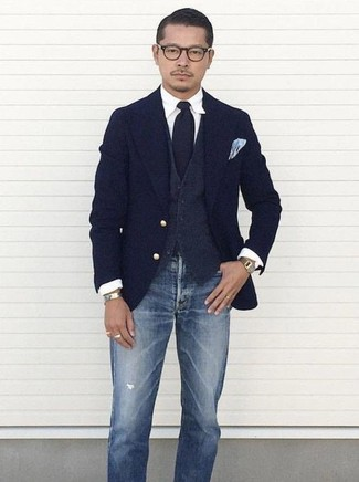 How to wear: navy wool blazer, charcoal wool waistcoat, white dress shirt, blue ripped jeans