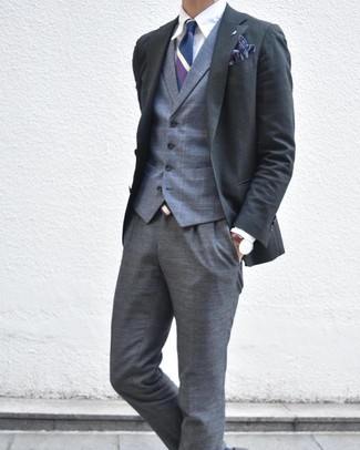 How to wear: charcoal blazer, grey plaid waistcoat, white dress shirt, grey plaid dress pants