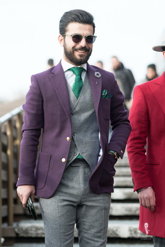 How to wear: dark purple wool blazer, grey wool waistcoat, white vertical striped dress shirt, grey wool dress pants