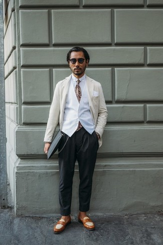 How to wear: beige vertical striped blazer, white waistcoat, white dress shirt, black vertical striped chinos