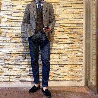 How to wear: brown check blazer, dark brown waistcoat, light blue vertical striped dress shirt, navy jeans