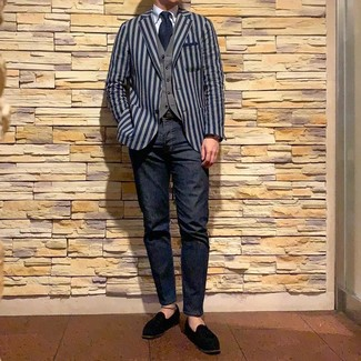 How to wear: navy vertical striped blazer, grey waistcoat, light blue dress shirt, navy jeans